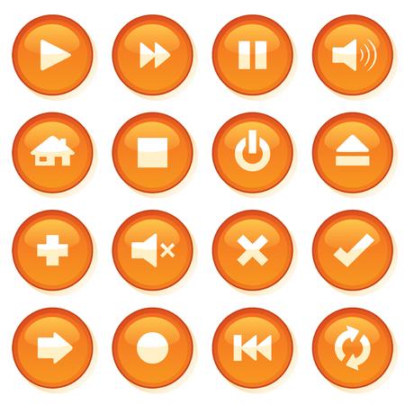 shiny buttons: Shiny orange control web buttons. Illustration