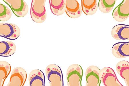 toenail: Frame of feet in flip flops. Illustration