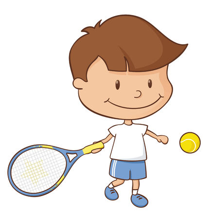 Little boy playing a tennis game.