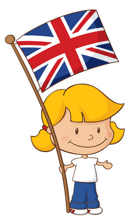 Little girl holding a British flag.