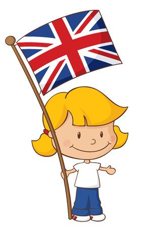 british girl: Little girl holding a British flag.