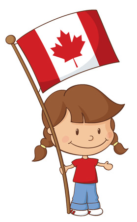 canadian flag: Little girl holding a Canadian flag.