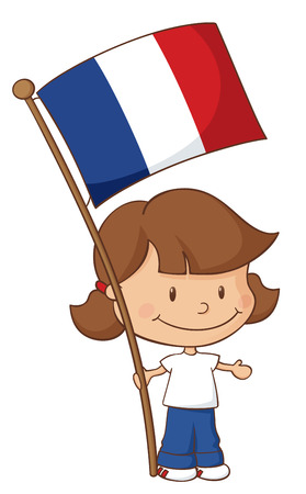 french flag: Little girl holding a French flag.