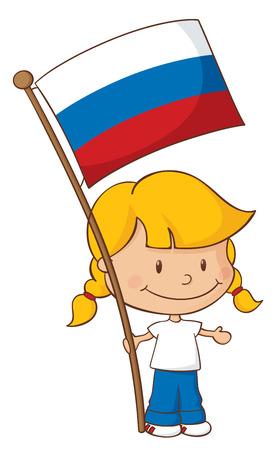 russian flag: Little girl holding a Russian flag. Illustration