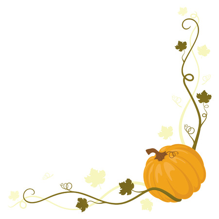 Cute little pumpkin with creepers and leaves framng a corner. Illustration