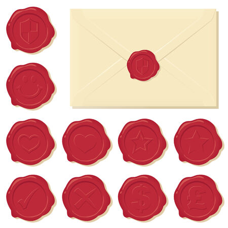 Wax seals with shadows so you can easily place the seal of your choice on the envelope.