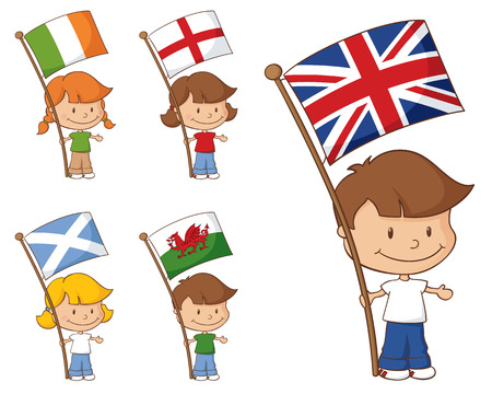 welsh: Kids holding flags from the UK and Eire.