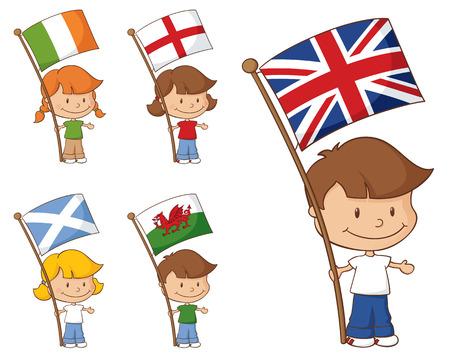 bandera inglesa: Los niños con banderas del Reino Unido e Irlanda.