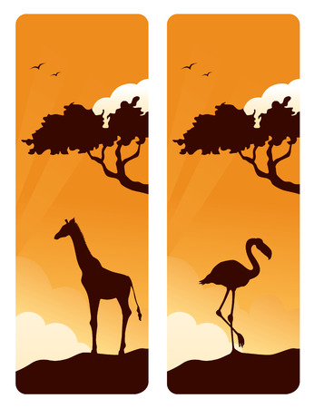 giraffe silhouette: African animals and acacia tree banners.