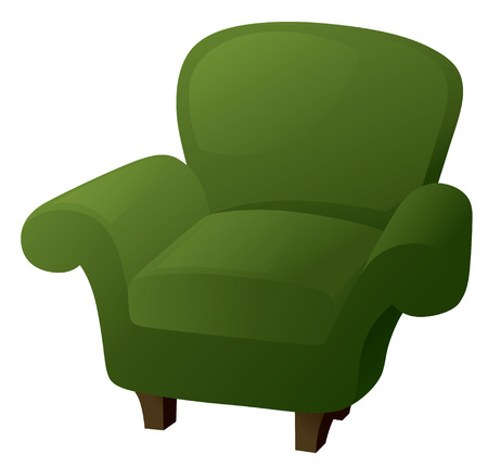 comfy: Comfy green armchair in traditional style. Illustration