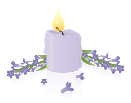 Cute little lavender scented candle. Illustration