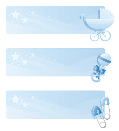 diaper pin: Blue baby banners with pram, rattle and diaper pins.