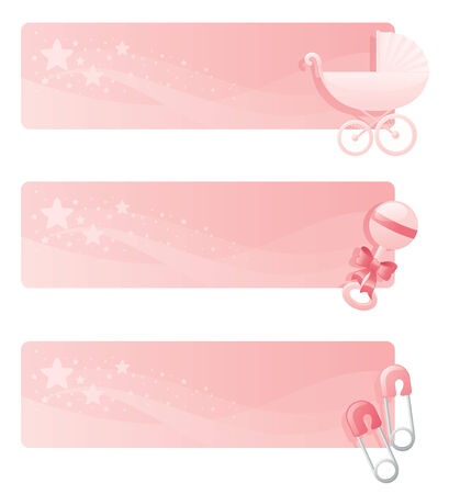 diaper pins: Pink baby girl banners with pram, rattle and diaper pins. Illustration