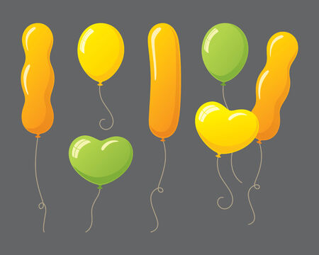 different shapes: Shiny balloons in different shapes.