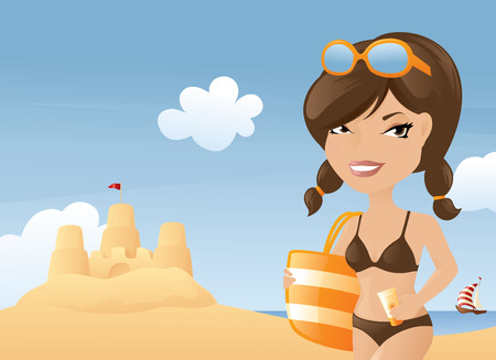sunscreen: Ready for a day at the beach. Illustration