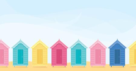 Cabine sulla spiaggia colorati con copyspace. Archivio Fotografico - 34024860