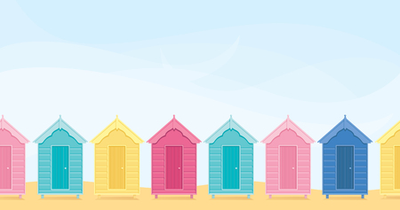 Colorful beach huts with copyspace.