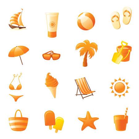 deck chair: Sixteen orange summer and beach icons. Illustration