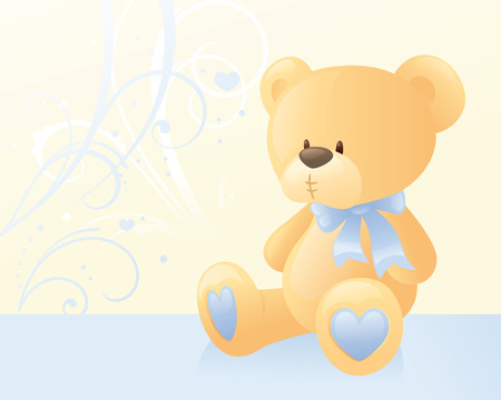 Teddy bear with blue bow.