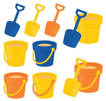 bucket and spade: Bright bucket and spade sets. Illustration