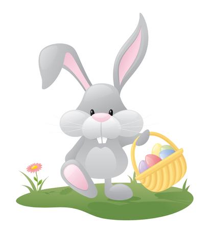 Conejo de Pascua con una cesta llena de huevos