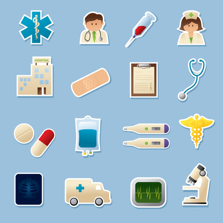 iv: Medical icons. Simple gradients - easy to change colour. White outlines can be easily removed and icons used without. Illustration