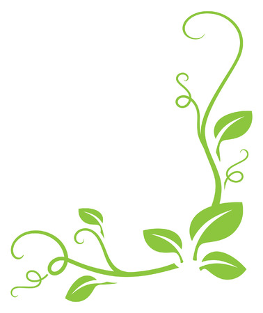 Simple green gradient free leafy border. Easy to change colour.