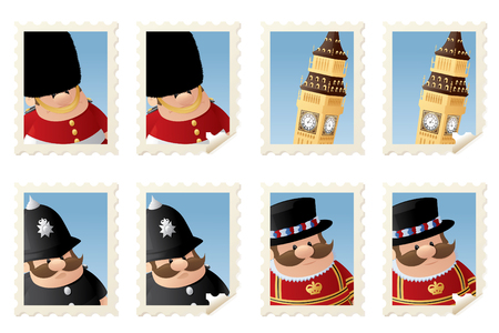 honour guard: London people and Big Ben stamps. Illustration