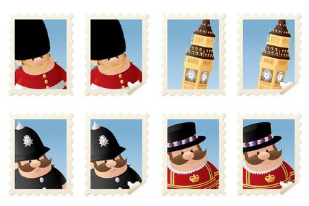 bearskin: London people and Big Ben stamps. Illustration