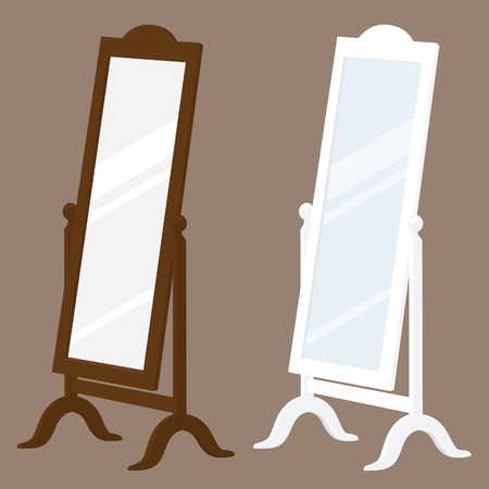full length mirror: Brown and white swivel stand alone mirrors. Illustration