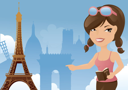 guidebook: Woman visiting Paris and the Eiffel Tower. Illustration