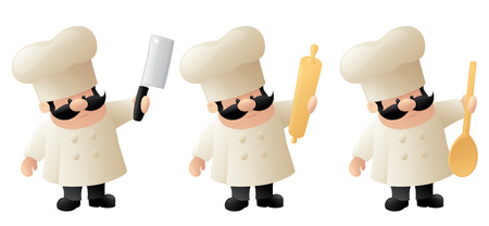 wooden spoon: Chef with cleaver, rolling pin and wooden spoon.