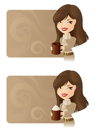 copyspace: Girl holding a mug of coffee with copyspace for your message