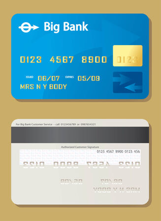 mastercard: Front and back of credit card.