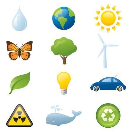 leaf water drop: Twelve saving the environment icons.