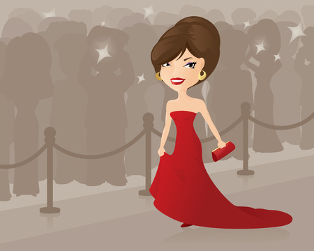 Starlet walking up the red carpet.