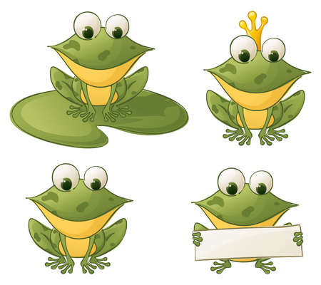 Four separately grouped froggies - make your own combinations. Vector