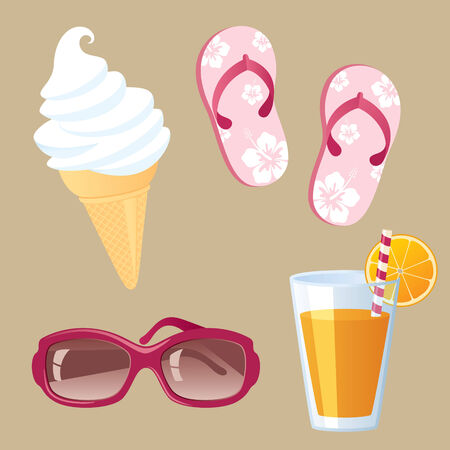 Summer and beach time essentials. Vector