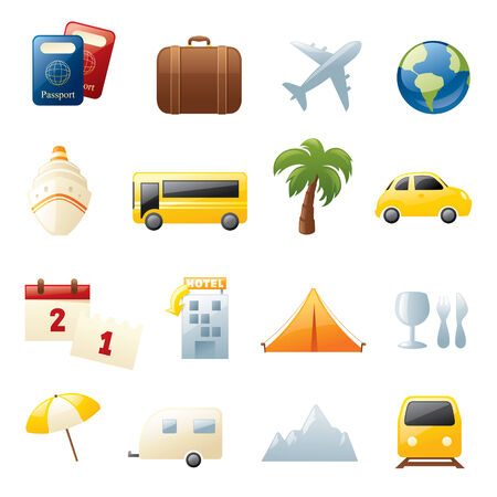 Sixteen holiday and travel icons. 向量圖像