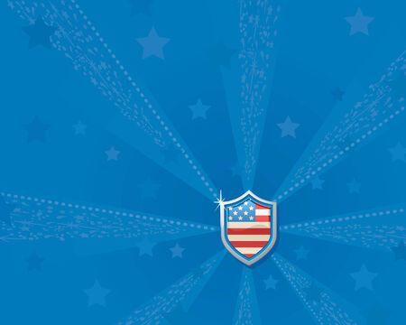 shiny shield: Shiny patriotic shield on starry blue background