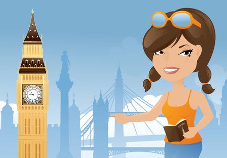 london bridge: Woman visiting London and Big Ben.