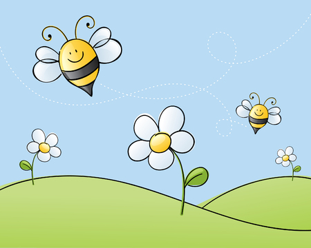 yellow hills: Happy bees searching for honey.