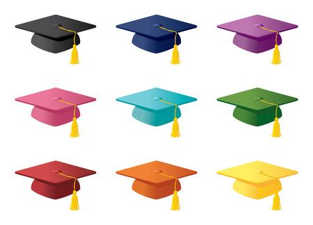 birrete de graduacion: Birretes en una variedad de colores. Vectores