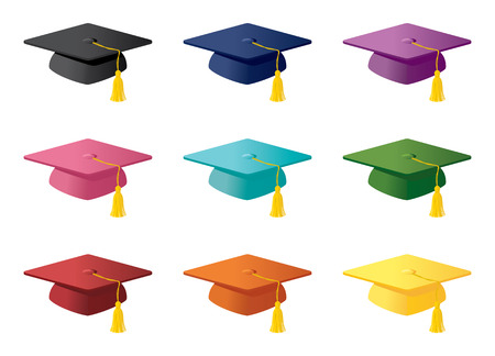 Mortarboards in a variety of colours.