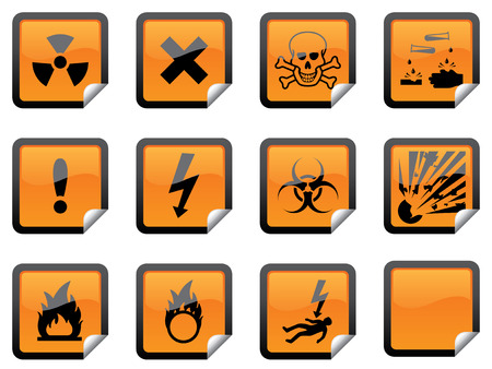 Glossy hazard warning stickers, with one blank sticker for your additions Vector