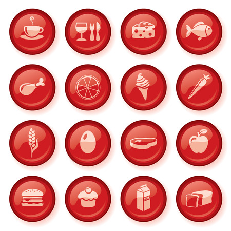 shiny buttons: Shiny red food web buttons.