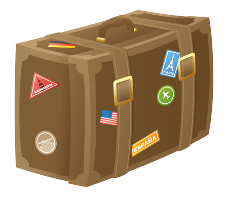 old fashioned: Old fashioned well used suitcase. Illustration
