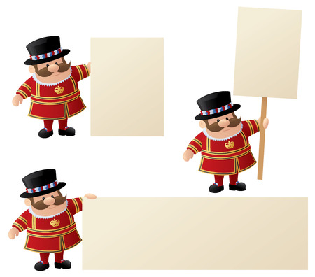beefeater: Yeoman of the Guard or Tower of London Guard with messages. Illustration