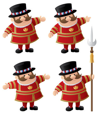 beefeater: Yeomen of the Guard or Beefeaters in various poses Illustration