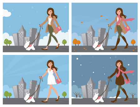 Woman walking dog in the four seasons.